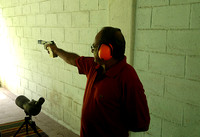 Target practice at the range. Firing a Walther GSP pistol